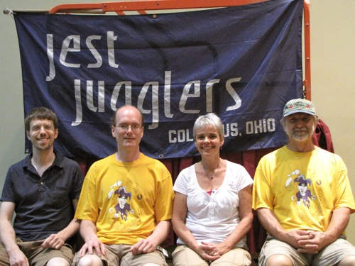 Jest Jugglers banner (Scott, Tom, Lynn, and Owen)
